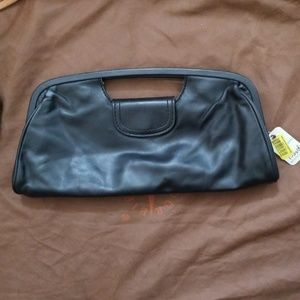 Fossil small black leather magnetic clutch